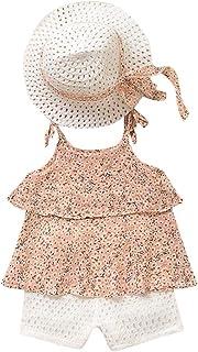 ¡Caliente! Conjunto de ropa de moda para niñas pequeñas GoodLock, chaleco floral de gasa, pantalones cortos, sombrero, trajes de 3 piezas