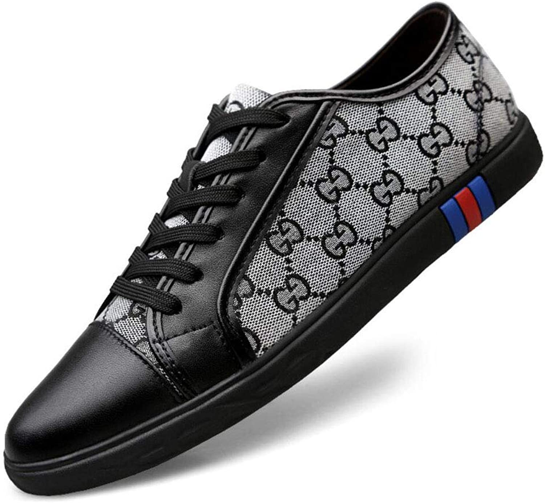 Men's Canvas shoes Fashion Leather Toe Cap Lace Up Casual shoes Espadrilles Low-top Sneakers Training shoes YAN (color   B, Size   39)