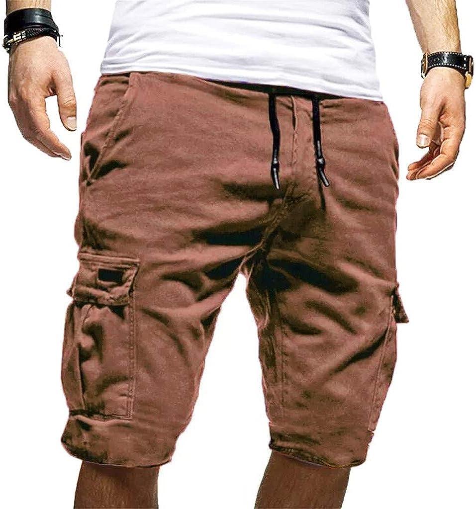 Selling Juner Men's specialty shop Solid Cargo Shorts Sports Outdoor Drawstring Elastic