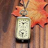 Reloj de Bolsillo ZYZED Reloj de Bolsillo de Cuarzo de Bronce VintageCollar de Movimiento de Doble Zona horaria Doble, Bronce
