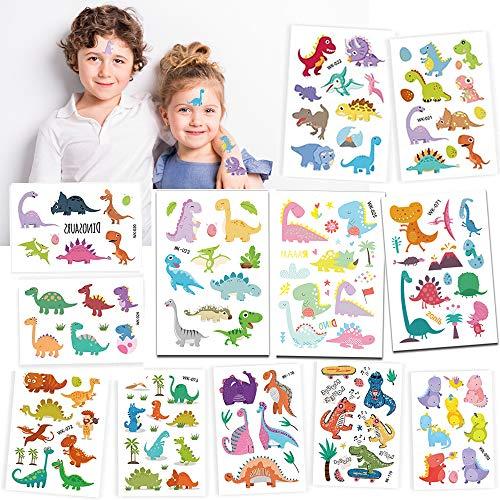 Tattoo Kinder, Dinosaurier temporäres Tattoo, Kinder Dino Tattoo, Cartoon Tattoos Set, kindertattoos, Dinosaurier sticker für Mädchen und Junge in Kindergeburtstag Mitgebsel Party Spielen Spielspass