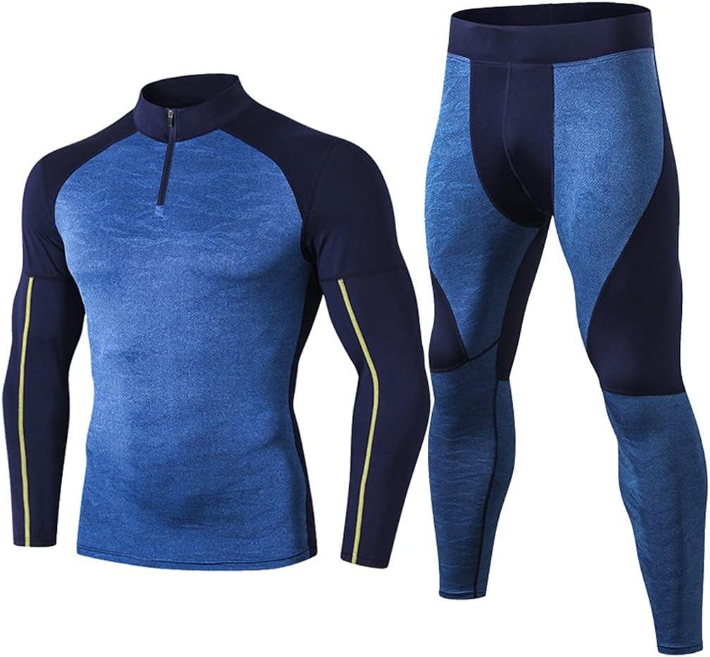 GYZCZX High Collar Winter Thermal Underwear Men Long Men Shirt Leggings Warm Sport Compression Underwear (Color : B, Size : S Code)