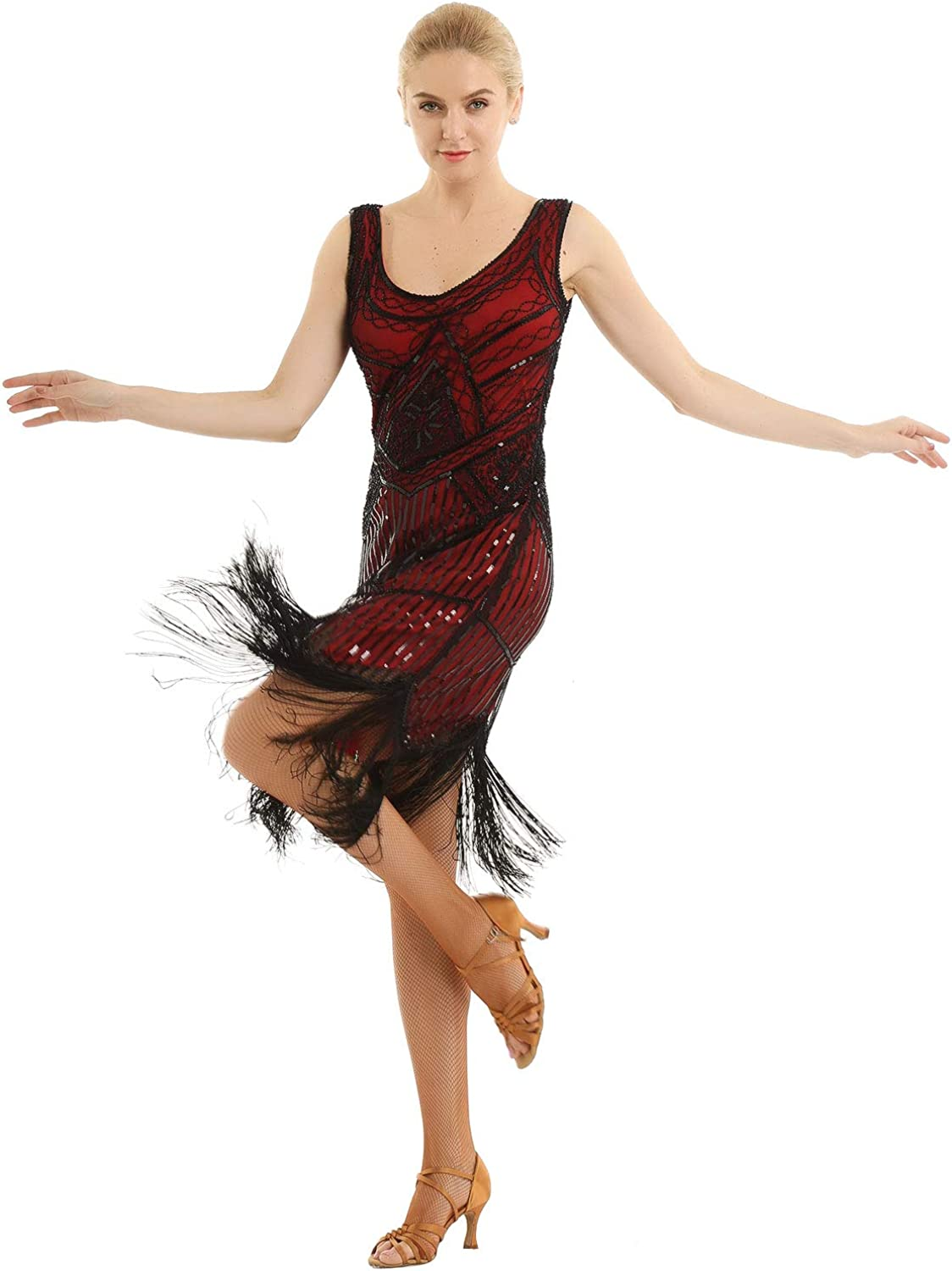 Limited time trial price ACSUSS Max 55% OFF Women's Flapper Dresses 1920S Costu V Fringed Neck Beaded