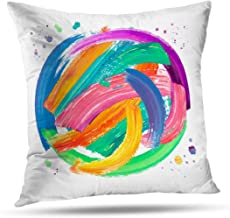 RADMAPLE Acrylic Fall Pillow Covers 20x20,Colorful Brush Stroke Oil Acrylic Flyers and Throw Pillow Cushion Covers Pillowcases for Sofa Fall Decor,Painting Colorful
