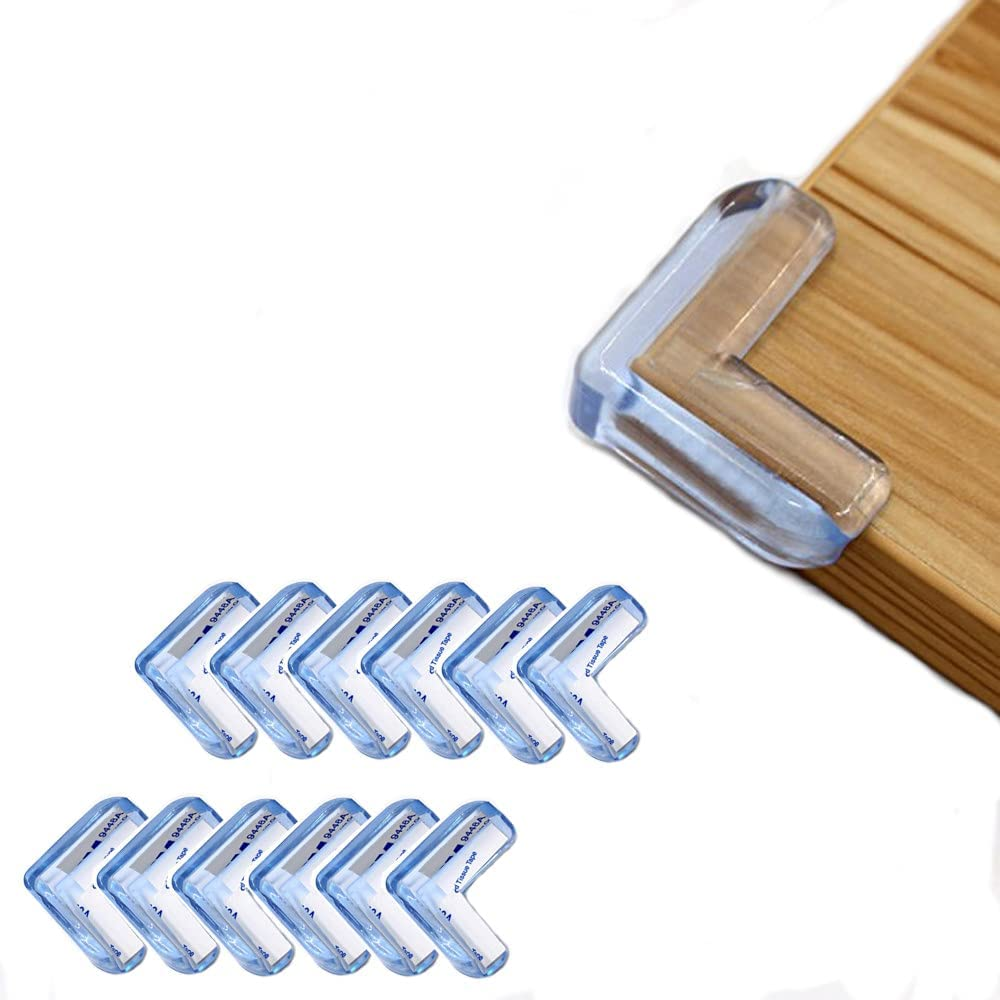 Corner Protector for Baby and Kids (L-Shaped) Adhesive Table Corner Guard for Furniture, Child Proofing, Safety Protection for Children, Clear Sharp Corner Covers, Sticky Edge Bumpers (12 Pcs)