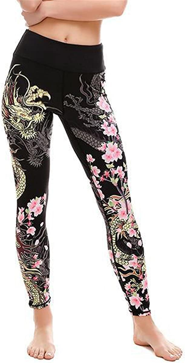 Womens Sexy Dragon Floral Printed Bodycon Skinny Stretchy Party Trousers Pants Leggings