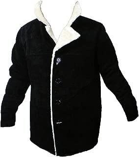 Men's Soft Suede Marlboro Style Buttons Closure Faux Fur Bonded Jacket