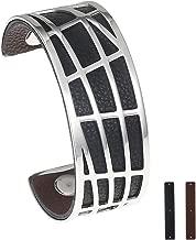 LEGENSTAR Open Interchangeable Cuff Bracelet, Black Brown Double-Sided Leather Stainless Steel Bracelets, Fashion Bangles for Women & Men