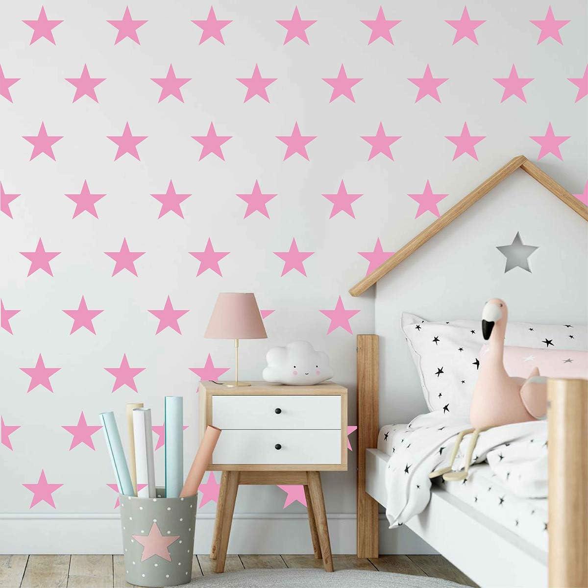 Amazon Com Melissalove 48pcs Set Of Stars Vinyl Wall Decor Stickers Diy White Star Wall Decals Art For Kids Nursery Room Decor Mural Wallpaper D399 Pink Arts Crafts Sewing