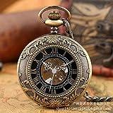 Reloj de bolsillo de la cadena de la vendimia, pátina azul clásica grandes números romanos reloj de bolsillo flip romano literal manual de bolsillo mecánico reloj de bolsillo de regalo masculino y fem