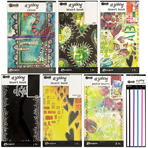 Dyan Reaveley's Dylusions Dyalog Bundle - Distressed Canvas Cover - Frame, a Package of 3 Pocket Inserts, 4 Insert Books and a Package of 4 Elastic Bands