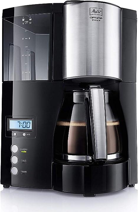 Macchina da caffè americano a filtri con timer e caraffa in vetro melitta optima timer 100801 6613648