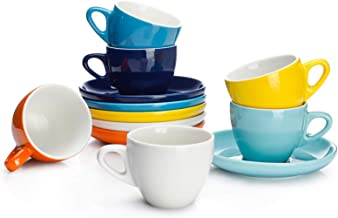 Sweese 402.002 Espresso Cups with Saucers, 4 Ounce Demitasse Cups, Perfect for Single or Double Espresso, Cappuccino, Latt...