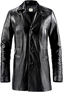 ST- Black Leather Trench Coat 3 Button Men Max Payne Mark Wahlberg Faux Designer Jacket Big Tall Boys