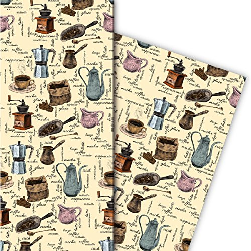 Kartenkaufrausch Gezeichnetes Kaffeehaus Geschenkpapier Set 4 Bogen, Dekorpapier mit Kaffeemühlen und Kaffee Varianten, beige, für tolle Geschenkverpackung, Musterpapier zum basteln 32 x 48cm