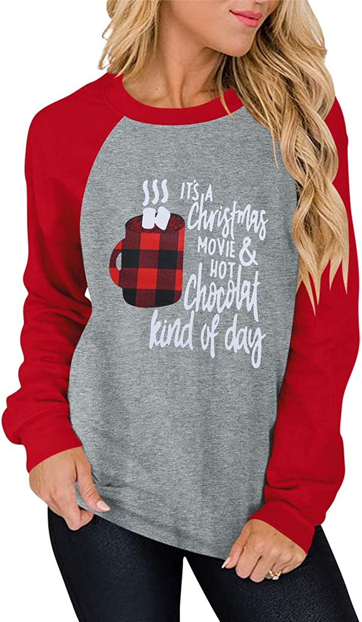 ANRABESS Christmas Movie Coffee Sweatshirt Women Long Sleeve Novelty Graphics with Saying Funny and Cute Shirt