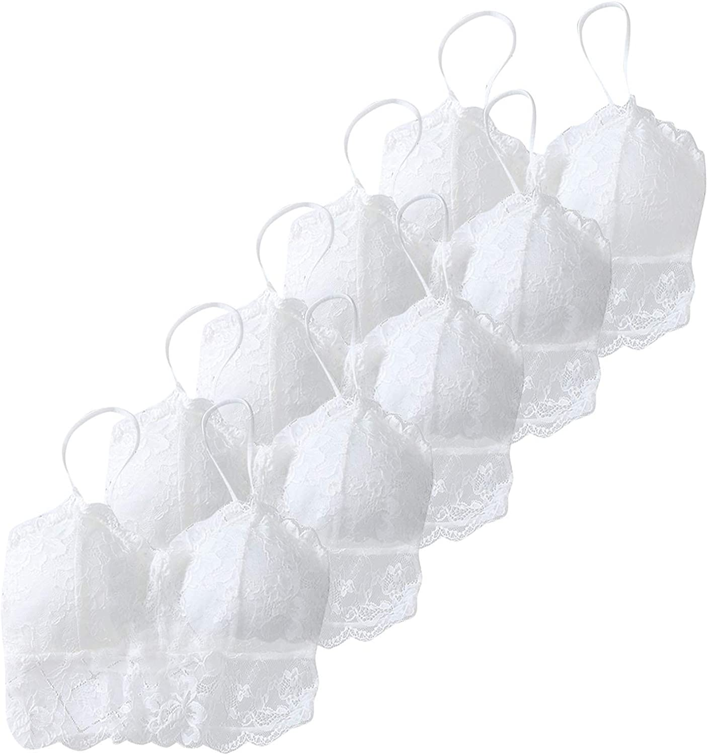 Women Girls Lace Seamless Wirefree Padded Bralettes Bra Sports Cami Everyday Bras with Straps 5 Pcs