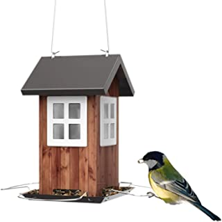 Kingsyard Bird Feeders for Outside Hanging Small Metal Bird House 0.8lb Bird Seed Capacity for Finch Cardinal NOT Squirrel Proof