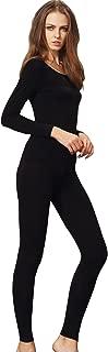 Women's Scoop Neck Long Johns Ultra Thin Modal Thermal Underwear Top & Bottom Set