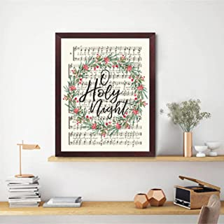 Poster Holy Night Christmas Hymn Prints Vintage Carol Poster Aged Antique Sheet Music Canvas Painting Scripture Christian ...