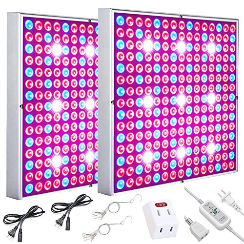 LED Grow Light, Plant Grow Lights for Indoor Plants Full Spectrum 75W Panel Growing Lamp with Timer for Seedling Veg and Flower by Skylaxy (2 Pack)