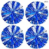 Hlonon 4 Pack Cheerleader Pom Poms Sports Dance Cheer Plastic Pom Poms Cheerleading for Sports Team Spirit Cheering (Blue Silver)