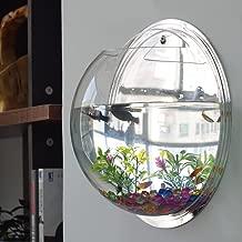 kathson Home Decoration Pot Wall Hanging Mount Bubble Aquarium Bowl Fish Tank Aquarium(White,7.6in H:3.6in) (Mirror)