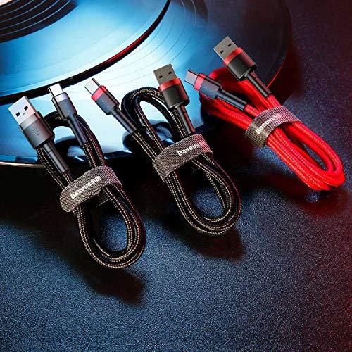 Baseus USB Ladenkabel auf Typ-C Kabel, DB-SMT Cafule 3A 1m Daten/Ladekabel geeignet für MacBook, iPad Pro 2018, Huawei Matebook, Chromebook, Pixel, Switch und mehr (Grau+Schwarz)
