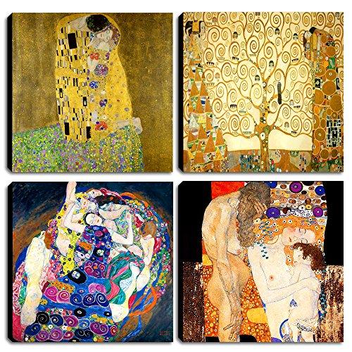 Degona Quadri Moderni Gustav Klimt 4 pz. cm 30x30 cad. Stampa su Tela Canvas Arredamento Arte Astratto XXL Arredo per Soggiorno Salotto Camera da Letto Cucina Ufficio Bar Ristorante