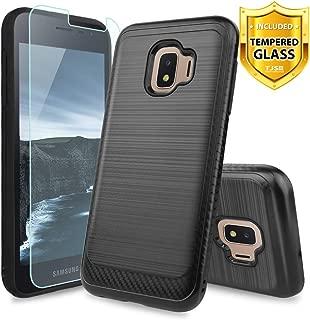 TJS Phone Case for Samsung Galaxy J2 Core/J2 2019/J2 Pure/J2 Dash/J2 Shine, with [Tempered Glass Screen Protector] Hybrid Shockproof Resist Metallic Brush Finish Hard Inner Layer Cover (Black)