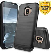 TJS Phone Case for Samsung Galaxy J2 Core/J2 2019/J2 Pure/J2 Dash/J2 Shine, with [Tempered Glass Screen Protector] Hybrid Shockproof Resist Metallic Brush Finish Hard Inner Layer Cover (Black)