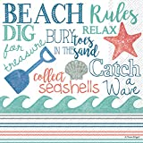 Celebrate the Home Beach-Themed 3-Ply Paper Cocktail Napkins, Beach Rules, 20-Count