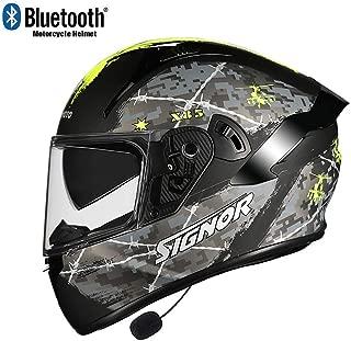 TKTTBD Bluetooth Full Face Motorcycle Helmet,DOT Approved Anti-Fog Double Visor Motorbike Locomotive Helmet Mofa Crash Moped Bobber Chopper Cruiser Racing Cap