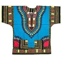 ド派手でカラフルなアフリカの民族衣装ダシキ HIP-HOPシーンを中心に海外アーティストに 超絶ゆったりな着心地で様々な体型の方にマッチ ダンサーにも フェスや衣装に のアフリカンエスニック メンズ レディース ユニセックス ダンス衣装 エスニック ファッション (ライトブルー)