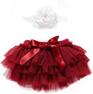 900da1ee8919b Skorts for Baby Girls Cotton Tulle Ruffle with Bow Baby Bloomer Diaper  Cover and Headband Photography