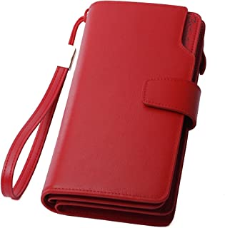 BOSTANTEN Womens Leather Clutch Wallets Wristlet Long Zip Cash Card Holder Red