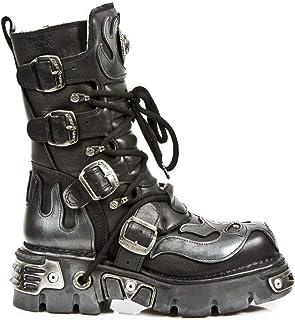 New Rock 107-S2 Boots Couleur Noir avec Crâne Argent Por Hommes Diable Noir Cuir Naturel Style Gothique Rock Motard