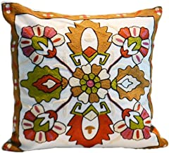 Home Decor Embroidered Cotton Throw Pillow Covers Decorative Cushion Covers 18 x 18 inch, Machine Washable Sofa Cushion Cover