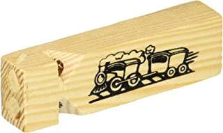WOODEN TRAIN WHISTLE PACK OF 5 TRAIN ENGINE PARTY SUPPLIES FAVOURS