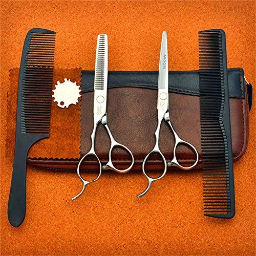 Jsx 6 Pouces Ciseaux Cheveux en Acier Inoxydable Salon de Coiffure Ciseaux de Coupe de Coiffure pour la Main Gauche Plat + Scissor Dents de Cisaillement + Peigne + Un Ensemble Sac en Cuir (Argent)