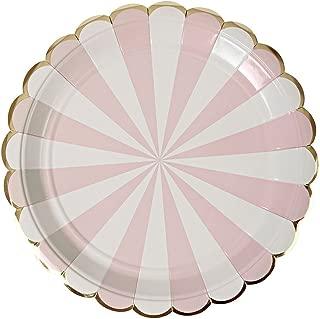 Meri Meri Dusty Pink Fan Stripe Large Plates