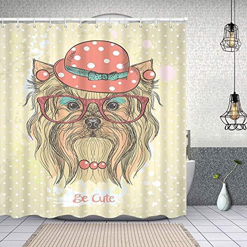 Cortina de Baño con 12 Ganchos,Ser Retrato de un Perro con Pendientes Collar Gafas Sombrero Maquillaje,Cortina Ducha Tela Resistente al Agua para baño,bañera 150X180cm