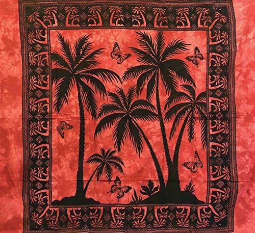 Telo Arredo Copritutto Grande 3 Palme 210x230 cm 100% Cotone Indiano StampatoBatik Indiano Copri Divano Gran Foulard (Rosso)