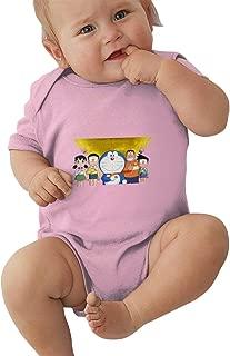 Unisex Baby O-Neck Short Sleeve Climbing Clothes Doraemon Guard Funny Jumpsuits Sleepwear Black