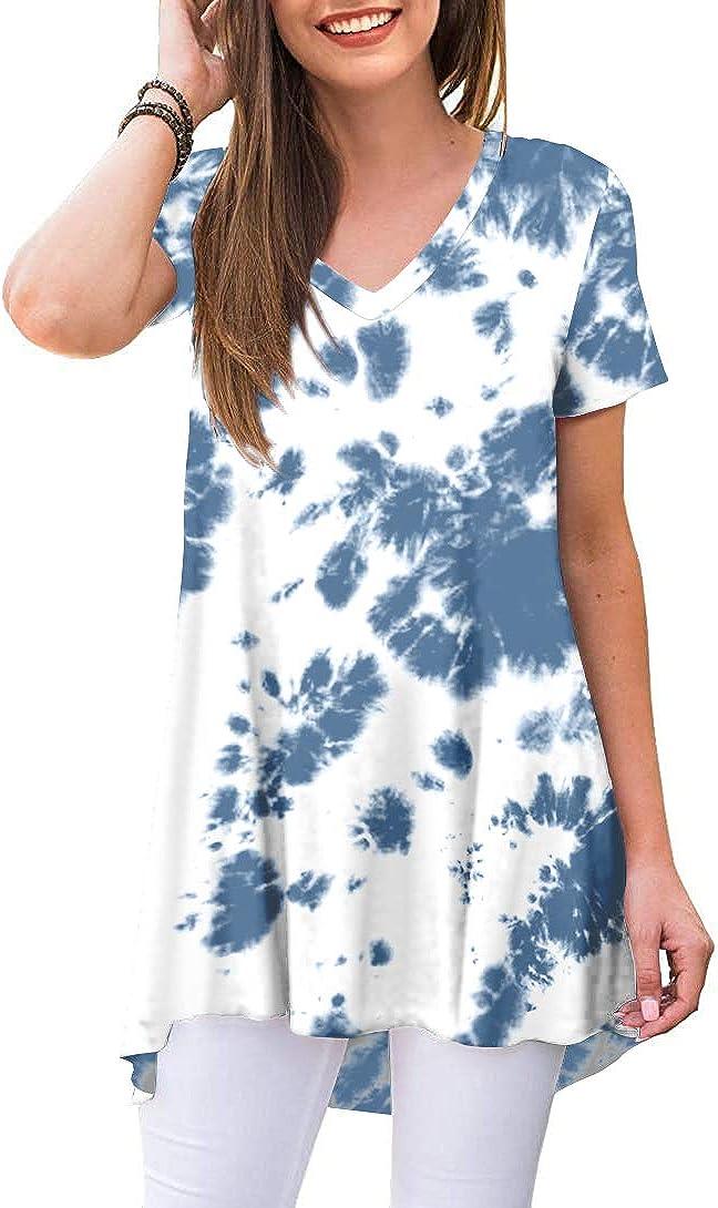POPYOUNG Women's Mail order sale Summer Casual T-Shirt Sleeve V-Neck Tunic Short