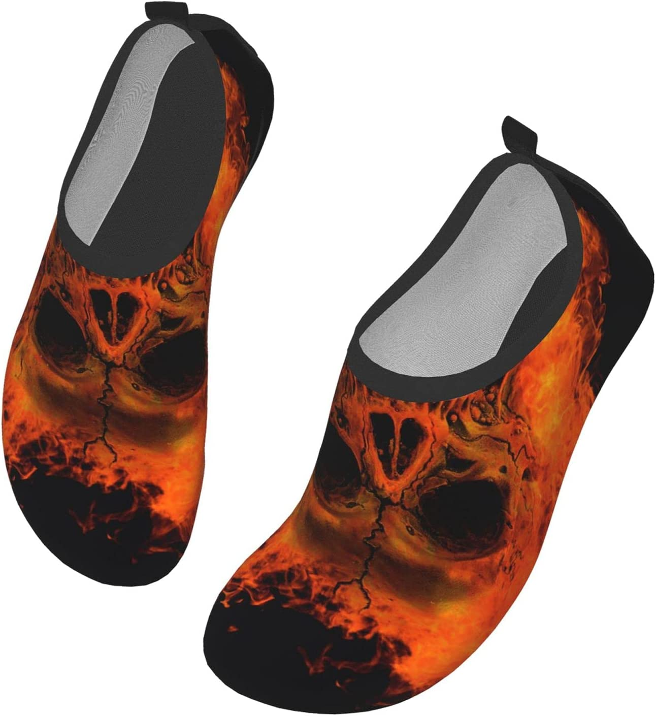 Womens Mens Summer Water Shoes Cool Blood Red Fire Skull Barefoot Shoe Quick Dry Aqua Socks