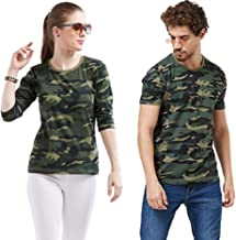 COUPLESTUFF.IN Couple Matching Camouflage Cotton Army Military Print 3/4th Sleeve Women T-Shirt & Round Neck Men T-Shirt