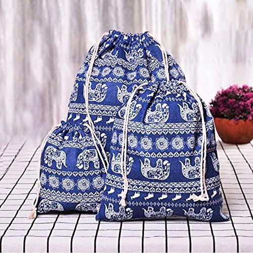 Anno-Patrón geométrico 909123 bolsa de lino con cordón bolsa de regalo de dulces joyería caja de almacenamiento cosmética moneda clave caja 9 piezas 909123