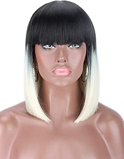 Kalyss Short Ombre Platinum Blonde 2 Tones Black to Blonde Bob Wigs with Hair Bangs Heat Resistant Yaki Synthetic Straight Full Head Hair Replacement Wig for Women,Natural and Fashion Looking for Dail