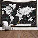 Capsceoll Tapestry World Map, Map Hanging Wall Hanging Decorations Outdoor Wall Hanging Wall Art for Living Room World Map Wall Decor Wall Paintings for Bedroom 80X60 Inches,Black White